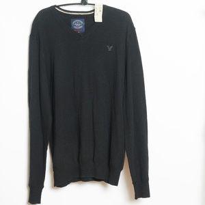 American Eagle Mens Black V-Neck Sweater